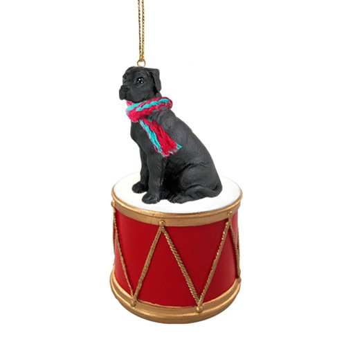 Little Drummer Great Dane Black Uncropped Christmas Ornament - Hand Painted - Delightful by Animal Den