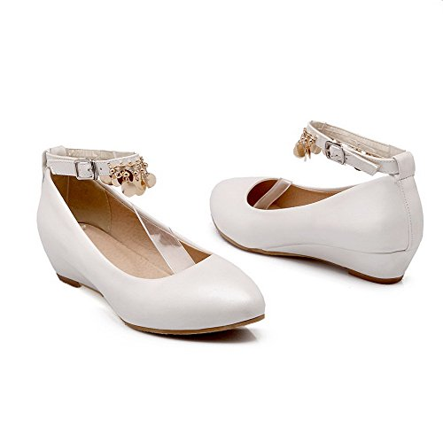 Odomolor Women's Low-Heels PU Solid Buckle Round-Toe Pumps-Shoes, White, 41