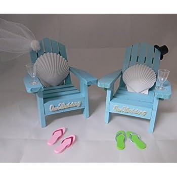 185985fa18f93d Wedding Reception Adirondack Chairs flip flops Beach Seashell Cake Topper