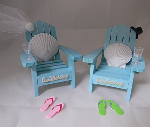 Wedding Reception Adirondack Chairs flip flops Beach Seashell Cake - Theme Wedding Beach Cake