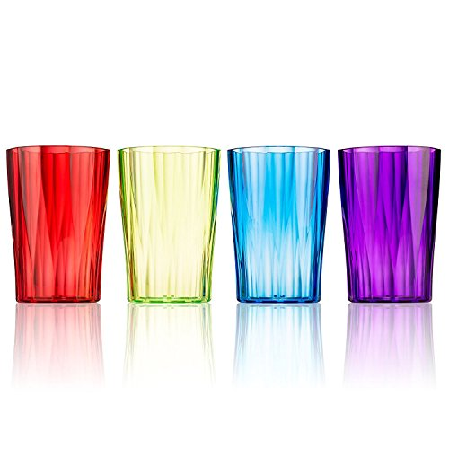 Drinking Glasses by Spogears - Set of 4 Drinking Cups - 13 Ounce, Plastic Tumblers, Vibrant Colors, The Plastic Glasses Set are Break Resistant Drinkware, Dishwasher Safe, BPA Free, Beverage Tumblers
