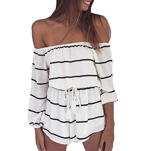 CocoMarket Women Off Shoulder Stripe Fashion Casual Long Sleeve Jumpsuit Playsuit (White, S)