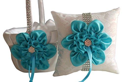 Alex Emotions   Big Flower Collection   Turquoise White Ring Bearer Pillow & Wedding Flower Girl Basket Set