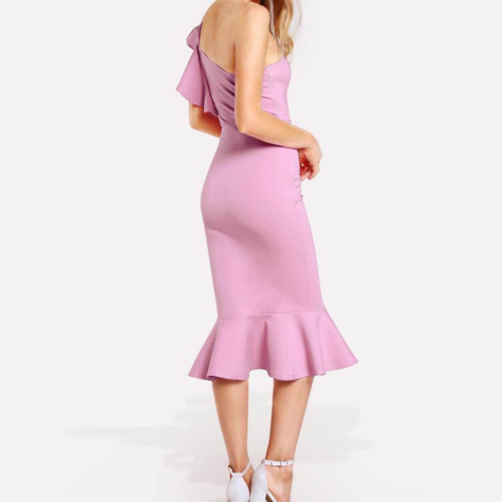 KIMODO Damen Kleider R/üsche Schulterfrei Eine Schulter Verein Cocktailkleid Einfarbig Partykleid Festlich Abendkleid