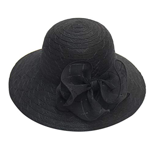 NEARTIME Beach Hat for Women, Ladies Organza Sun Shade Cap Casual Solid Color Elegant Foldable Hat Straw Beach Visor
