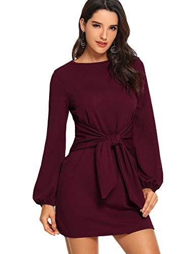 Milumia Women's Casual Front Self Tie Long Sleeve Knot Party Dress M-Burgundy XL