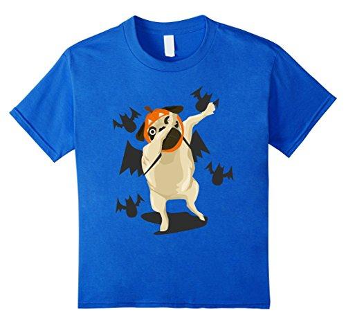 Kids Dabbing Pug Halloween Costume Funny Dog Lover Graphic Tshirt 10 Royal Blue