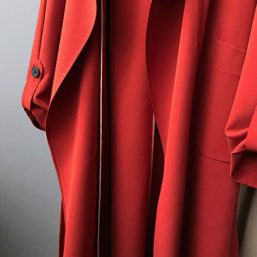 Casuales Solapa Casual Primavera Outwear Mujeres Anchos Color Larga Mujer Manga Windbreaker Unicolor Gabardina Abrigos Otoño De Rojo Largos Sólido a07czw