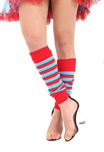 Momo&Ayat Fashion Ladies Thing Red Turquoise Theme 1 & 2 Book Week Costume- Pick & Mix (Red/Turq Stripe Legwarmers, Onesize) -