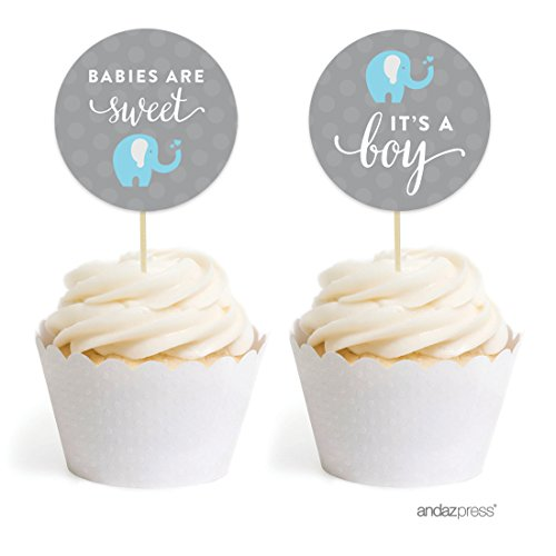 Baby Shower Favor Kits (Andaz Press Boy Elephant Baby Shower Collection, Cupcake Topper DIY Party Favors Kit, Babies are Sweet! It's a Boy!, 20-Pack)