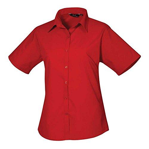 Premier Womens Poplin Long Sleeve Formal Work Blouse Shirt Red