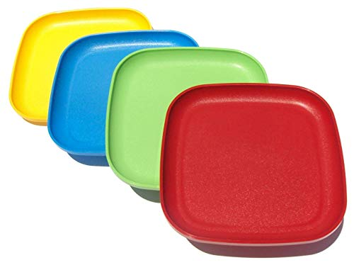 Blue Square Luncheon Plate - Tupperware Square 8 Inch Luncheon Plates Set of 4 Red Yellow Blue Green