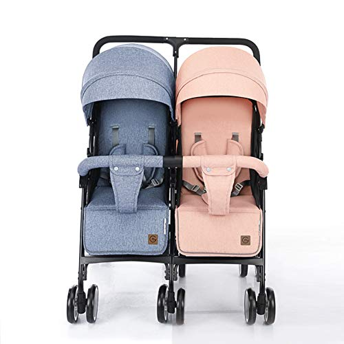 Double Stroller – Tandem Pushcahir – Twin Strollers – Light Compact Stroller – Portable Stroller – Multi-Position Reclining – from Infant to Toddler 0-36 Months