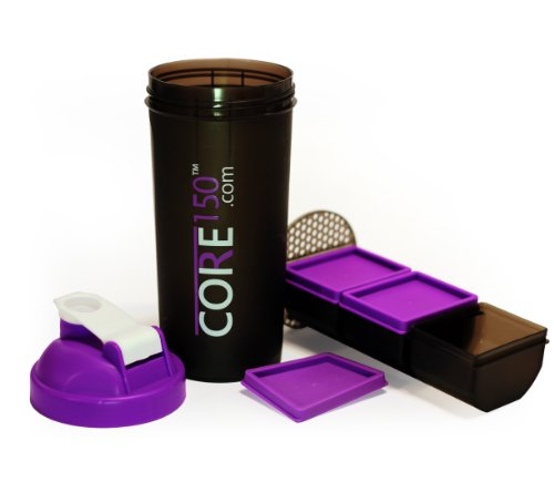 Core150 Purple 1 Litre 35oz Shaker Cup with 3 Storage Compartments