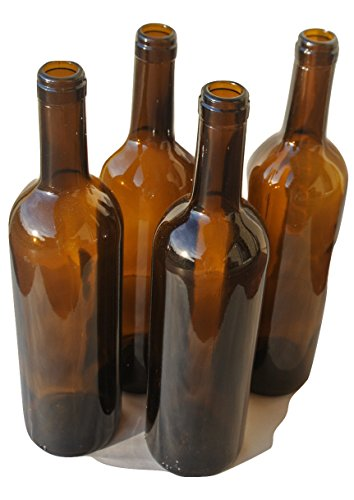 Bordeaux Bottles 750 ml Amber - Brown for Bottle Trees, Crafting, Parties,Wedding Center Piece , Decor , Home Brew , Beer, Wine (12)