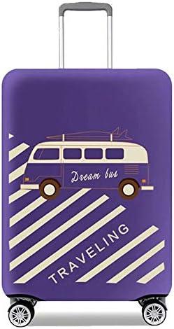 旅行スーツケースカバープロテクター伸縮性のある洗濯可能な荷物保護トロリーケースカバープロテクター22-24インチに適合 Purple M