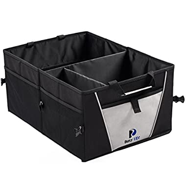 Busy Life Trunk Organizer - Great Car Organizer for any Automobile - Sturdy Construction and Collapsible Design allows use as a Garage Organizer or Cargo Box for SUV - Enhance Your Travel Experience Today