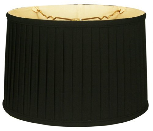 Royal Designs Shallow Drum Side Pleat Basic Lamp Shade, Black, 17 x 18 x 11.5 by Royal Designs, Inc