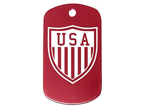 Std Shield (Usa Shield Logo Red Dog Tag Custom Engraved By Ndz Performance)