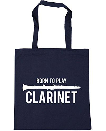 HippoWarehouse Born to Play Klarinette Einkaufstasche Fitnessstudio Strandtasche 42cm x38cm, 10 liter - Französische Marine, One size