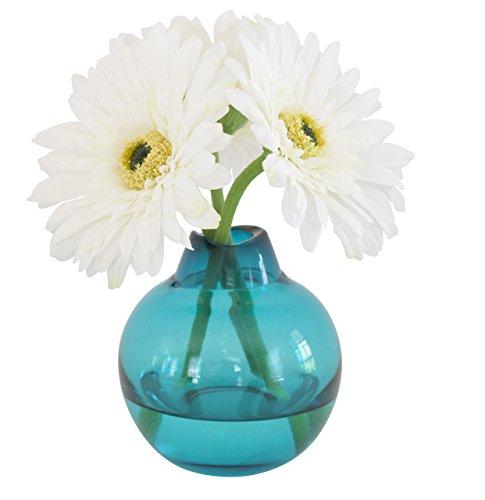 White Gerbera Daisy in Teal Globe Vase by Simone & Troy