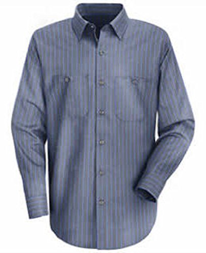 W S BCO Men's Charcoal with Blue Stripe Long Sleeve Industrial Auto Work Uniform Shirt, 65% Polyester, 35% Cotton ()