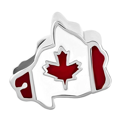 Canadian Jewelry - Joshua Home Jewelry Canadian Flag Bead Canada Flag Charm Bead Maple Leaf Patriotic Proud To Be Canada Flag Map Charms Beads for snake Chain charm Bracelet