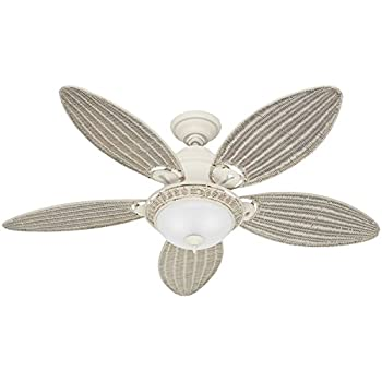 Hunter Fan Company 54094 Caribbean Breeze 54-Inch Textured Ceiling Fan with Five Cream Wicker Blades and Light Kit, White