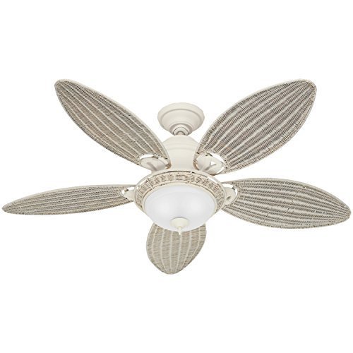 Hunter Fan Company 54094 Caribbean Breeze 54-Inch Textured Ceiling Fan with Five Cream Wicker Blades and Light Kit, White ()