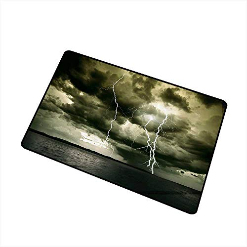 Axbkl Interesting Doormat Lake House Decor Collection Majestic Rain Cloud with A Thunderstorm All Over The Ocean Flash Sea Dramatic Scenery W31 xL47 Easy to Clean Carpet Grey Blue