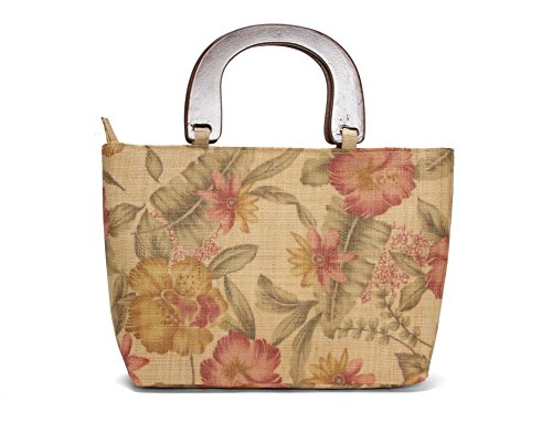 - Ladies Woven Raffia Tropical Resort Straw Tote Bag - Mauve