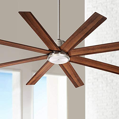 60 The Strand Modern Ceiling Fan with Remote Brushed Nickel Walnut Blades for Living Room Kitchen Bedroom Family Dining – Casa Vieja