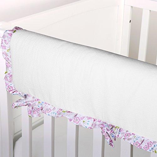 Petite Sateen - Leila White with Floral Trim Crib Rail Guard by Petit Tresor
