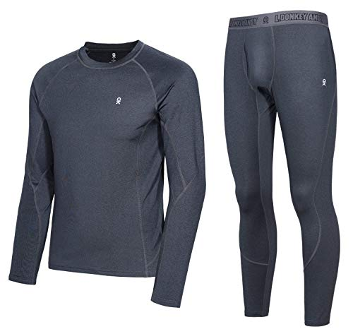 Little Donkey Andy Men's Thermal Underwear Set Performance Base Layer Wicking Active Long Johns Top & Bottom with Fly