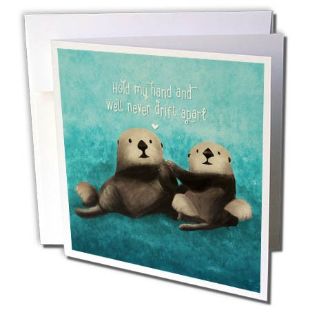 3dRose Noonday Design - Animals - Two sea Otters Holding Hands in The Ocean - 12 Greeting Cards with Envelopes (gc_281739_2)