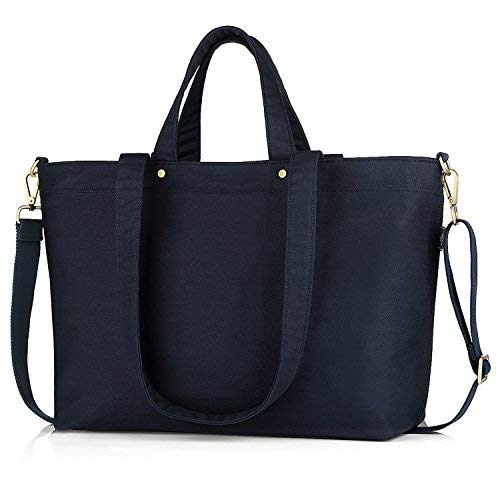 BONTHEE Canvas Tote Bag Handbag Women Large Shopper Shoulder Bag for School Travel Work - Blue ()