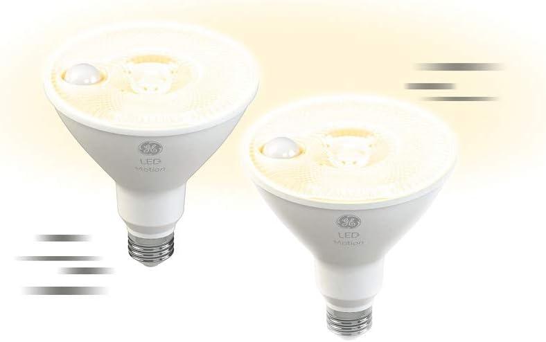 GE Lighting 93129135, PAR38, 2-Pack, Bulb, Warm White, 90-Watt Replacement, Security Lights Outdoor LED+ Motion Sensor, 2pk