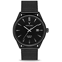Vincero Luxury Men's Kairos Wrist Watch - Mesh Watch Band - 42mm Analog Watch - Japanese Quartz Movement (Matte Black)