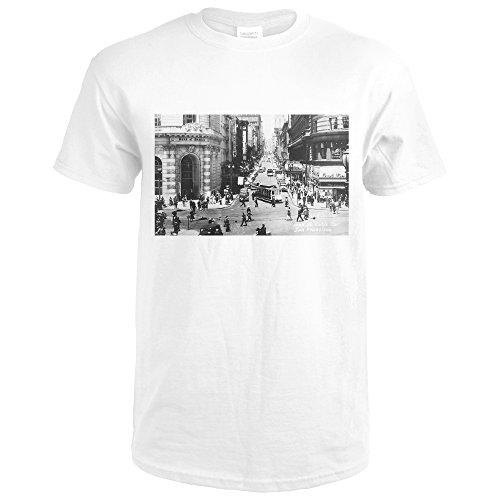 San Francisco, California - Powell Street Cable Cars - Vintage Photograph (Premium White T-Shirt - Francisco Street One San Powell