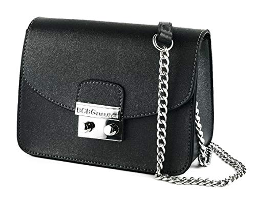 BCBGeneration Milly Small Black Crossbody Handbag for Women - Evening Bag, Purse with Chain Strap by BCBG ()