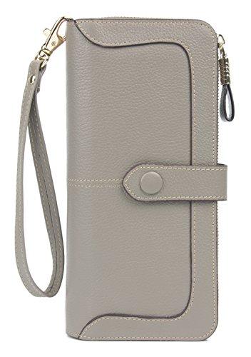 Anvesino Women's RFID Blocking Real Leather Wallet Ladies Zipper Wristlet Clutch Grey-2 Top Fold Checkbook Wallet
