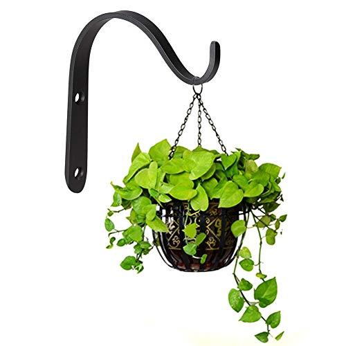 10 Pack Iron Wall Hooks, Metal Hanging Plants Bracket Decorative Curved Hooks, Heavy Duty Hook Hangers for Flower Pot, Bird Feeder, Lanterns, Wind Spinners, Decorative Plants, Screws Included (Black)