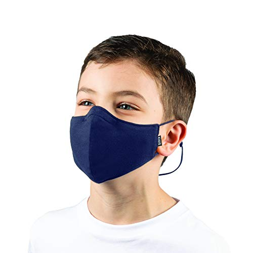 Bloch Kids' Children's Soft Stretch Reusable Face Mask with Lanyard and Moldable Nose Pad (Pack of 3), Navy, One Size