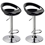 Duhome 2 PCS Swizzle Gloss Finish Crescent Shape Adjustable Swivel Bar Stools Kitchen Counter Top (Black)