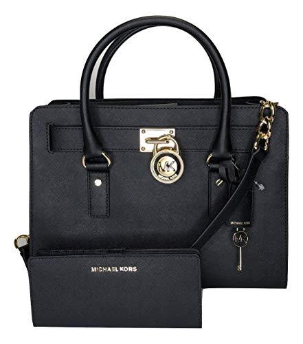 MICHAEL Michael Kors Hamilton EW Satchel bundled with Michael Kors Jet Set Travel Flat Slim Bifold Wallet (Black)