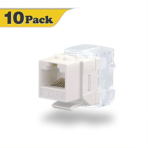 Unshielded In Line Coupler (VCE 10-PACK Cat6 RJ45 Punch-Down Keystone Jack in White Ethernet Module Network Coupler)