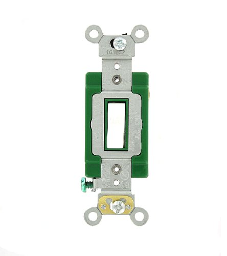 Leviton 3031-2W 30 Amp, 120/277 Volt, Toggle Single-Pole AC Quiet Switch, Extra Heavy Duty Grade, Self Grounding, White