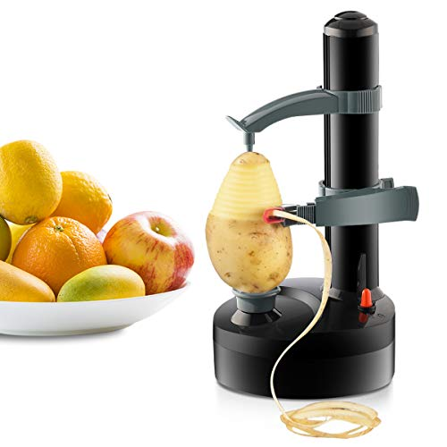 TOPCHANCES Multifunctional Automatic Stainless Steel Electric Potato Peeler Automatic Rotating Fruits Vegetables Cutter Kitchen Peeling Tool for Fruit Vegetables Battery Powered (Black)