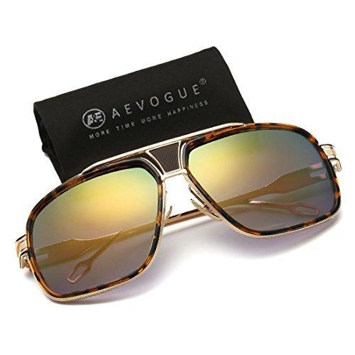 AEVOGUE Aviator Sunglasses For Men Goggle Alloy Frame Brand Designer AE0336 (Tortoise&Gold, 62)