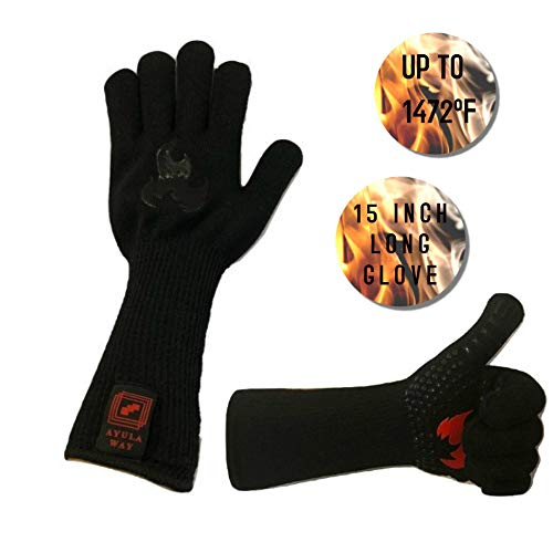 BBQ Gloves, Protective Oven Mitts, Elbow Length, HIGH Temperature Heat Resistance, Kitchen Cooking, Oven Mitts, Extra…